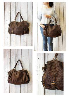 "Handmade woven leather bag ""INTRECCIATO 91 MESSANGER"" di LaSellerieLimited su Etsy"
