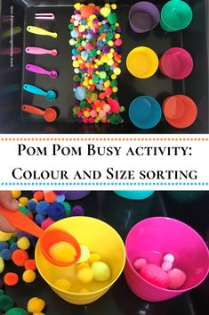 Pom Pom busy activity: colour and size sorting activity Pom Pom busy activity: colour and size sorti Colour Activities Eyfs, Nursery Activities, Sorting Activities, Preschool Activities, Colour Activities For Toddlers, Color Sorting For Toddlers, Happy Birthday Fireworks, Happy New Year Fireworks, Firework Gender Reveal Party