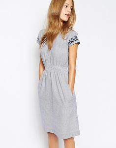 077e2731865 Image 1 of People Tree Stripe Dress with Embroidery Details Nice Dresses