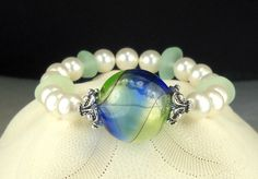 GENUINE Aqua Sea Glass Bracelet With Lampwork by seaglassgems4you, $35.00