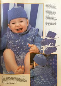 Beach Babies.  Baby's Vest, Hat & Moccasins.  Handmade Vol 11. No 1.  Jan/ Feb 1995.  4 ply cotton 330m/ 100g x 1-1.5 for vest, 1/2 for hat or moccasins.  3mo.  6mo.  12mo