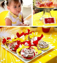 """Lovely & Modern """"Curious George"""" Birthday love the red and yellow color theme, and the sugar cookies."""