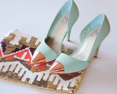 rose gold capped mint heels