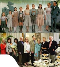 Main actors from The Sound of Music. I love this ' Then and Now' picture- I wondered what the children would look like so many years later!
