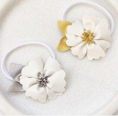 Baby girls white gold silver Wildflower headband by LittleSherbet