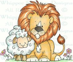 Lion & Lamb - Zoo - Animals - Rubber Stamps - Shop