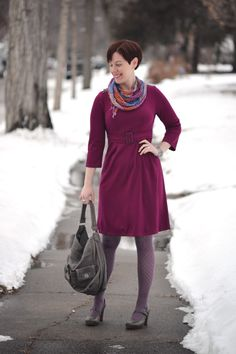 Already Pretty outfit featuring magenta belted ponte dress, chrysanthemum scarf, gray Tsubo Acrea, Marc by Marc Jacobs turnlock bag