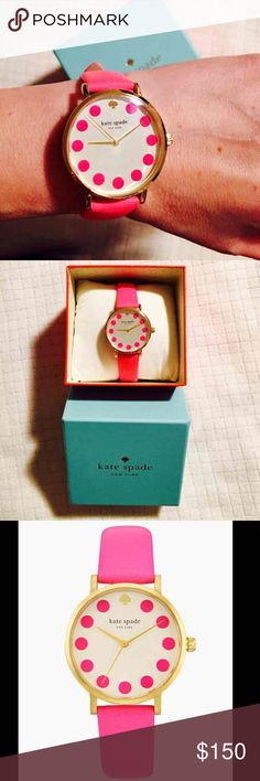 kate spade♠️Metro Dot Bazooka Pink leather watch brand new with tags and orig. box kate spade♠New York metro dot Bazooka watch with hot pink leather strap. Beautiful Round shiny gold-tone metal frame, off white face with Hot pink dots printed around.  Appx 34mm diameter kate spade Accessories Watches