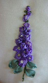 Silk Ribbon Embroidery: Tutorial - Delphiniums in Silk Ribbon Embroidery