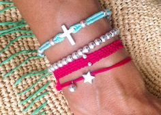 925 Silver bracelets  handmade with ❤️  turquoise cross beaded bracelet, silver bead bracelet, berry red bracelet, silver star  Follow me on Instagram & Facebook     NUCOBRACELETS ⚓️