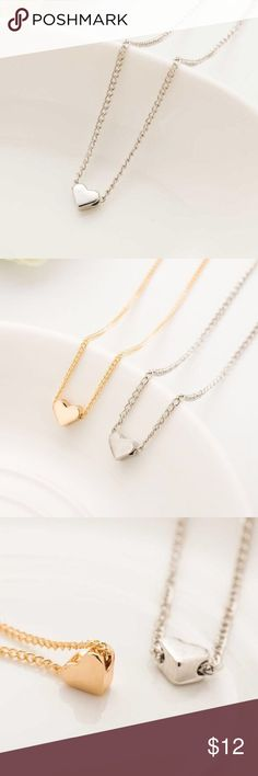 SILVER Heart Dainty Pendant Necklace Cute Dainty Heart necklace in the color Silver! Perfect for layering or a simple look 18 inches and a 2 inch extender  Gold available! (See store) Jewelry Necklaces
