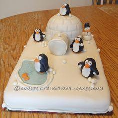 Coolest Winter Wonderland Penguin Cake... This website is the Pinterest of birthday cake ideas