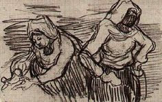 Two Women Working in the Field by @artistvangogh #postimpressionism