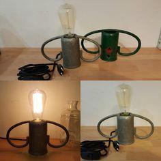 Gaz Bottle Handle Lamp With Edison Bulb (lampe Anse De Bouteille De images ideas from Home Inteior Ideas Cool Welding Projects, Metal Work Bench, Welding Table For Sale, Lamp Light, Light Bulb, Lampe Edison, Luminaire Vintage, Metal Welding, Welding Art