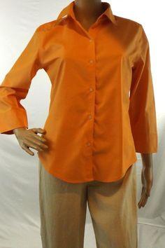 Eddie Bauer Sz S Light Orange Blouse 3/4 Sleeve Button WRINKLE RESISTANT Cotton #EddieBauer #Blouse #Casual