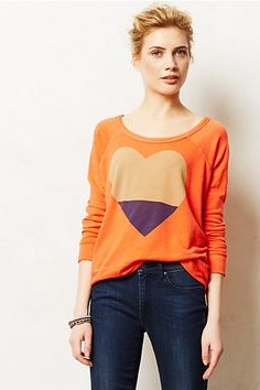 Colorblocked Heart Pullover - anthropologie.com