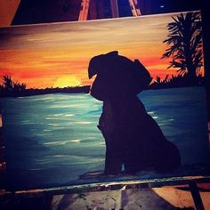 Dog Sunset Painting Silhouette