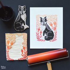 Andrea Lauren : Instagram Stencil, Lino Art, Stamp Carving, Illustrator, Handmade Stamps, Linoprint, Art Graphique, Tampons, Linocut Prints