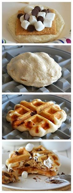 Go Ahead, Waffle Your S'mores : Satisfy s'mores cravings any time with your waffle iron and four ingredients you probably have already! Satisfy s'mores cravings any time with your waffle iron and four on-hand ingredients. Breakfast And Brunch, Breakfast Recipes, Dessert Recipes, Breakfast Waffles, Mexican Breakfast, Pancake Recipes, Crepe Recipes, Breakfast Sandwiches, Breakfast Bowls