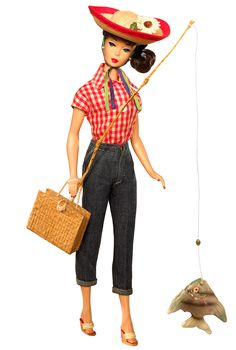 Barbie® doll wears a vintage reproduction of an ensemble originally introduced in 1959. Red and white check shirt, clam-diggers, and straw hat comprise the perfect outfit for a day off, fishing and picnicking in the country! Wedgie sandals, a woven picnic basket, and fishing pole complete this wonderfully nostalgic Barbie® doll!No more than 10,600 units produced worldwide.