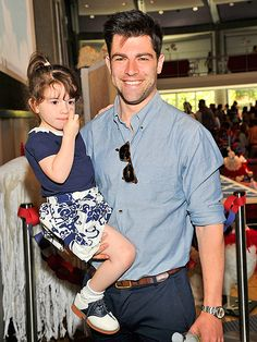 Happy Daddy's Day: The top 10 hottest celebrity dads!! TOP 7 : Max Greenfield with little Lily,  both looking like real fashionistas!
