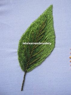 Let's learn embroidery: Long and short leaf Crewel Embroidery Kits, Types Of Embroidery, Learn Embroidery, Embroidery Patterns Free, Silk Ribbon Embroidery, Cross Stitch Embroidery, Embroidery Designs, Beaded Flowers Patterns, Long And Short Stitch