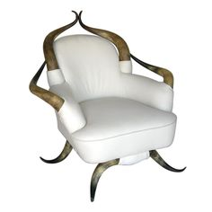 Horn Leather Chair  USA 19th c.  - reupholstered in ivory soft cowhide