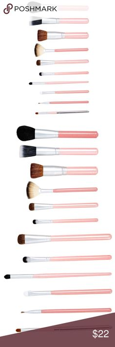 🌈10 piece perfectly pink Brush set Perfect pink brushes in assorted brush tips. Perfect for your everyday beauty essentials. Comes in 10 piece Crown Brush Makeup Brushes & Tools