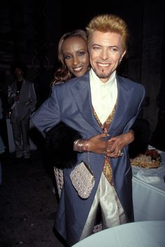 Iman and David Bowie during David Bowie's 50th Birthday Celebration Concert at Madison Square Garden in New York City, New York, United States. (Photo by KMazur/WireImage) via @AOL_Lifestyle Read more: http://www.aol.com/article/2016/01/11/david-bowie-and-iman-had-a-storybook-romance-for-25-years/21295537/?a_dgi=aolshare_pinterest#fullscreen