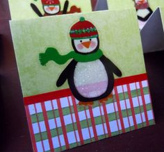 Penguins and Plaid Mini Cards or Gift Tags 2x2 (6) by PeculiarParchment on Etsy
