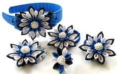Kanzashi fabric flowers. Set of 5 pieces. Navy blue by JuLVa, $30.00