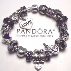 New Authentic Pandora Bracelet w/ Lavender Love Birds Key 2 My Heart Charm Beads #PandoraBracelet #European