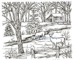 Winter Deer Cabin Scene Wood Mounted Rubber Stamp Northwoods Rubber Stamp New #Northwoods