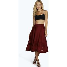 Boohoo Ivy Double Mesh Midi Skirt ($35) ❤ liked on Polyvore featuring skirts, berry, knee length maxi skirt, red midi skirt, mini cami, red mini skirt and red camisole