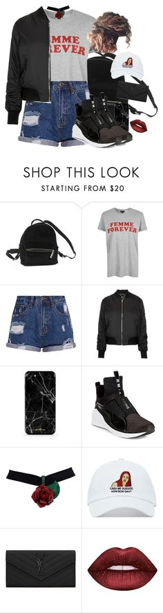 """""""Cash Me Outside, How Bah Dat? 🔊"""" by nemes-margareta-anna ❤ liked on Polyvore featuring Urban Outfitters, Topshop, Puma, Yves Saint Laurent and Lime Crime"""