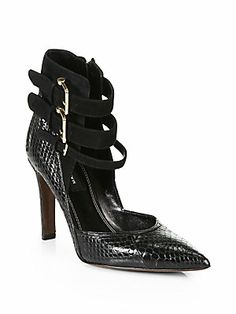 [these are extraordinary] <3 Derek Lam Paloma Snakeskin & Suede Ankle Strap Pumps