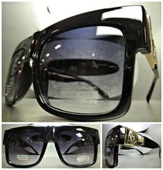3605ff23f466 OVERSIZE VINTAGE RETRO Hip Hop Style PARTY RAVE SUN GLASSES Black   Gold  Frame