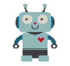 Heartbot - cross stitch pattern. $4.00, via Etsy.