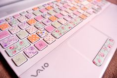 pink laptop with vintage floral keys...shut up! seriously! i know, right! ;}  washi tape!!!