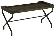 Janning Table Rustic Brown Wood Finish with Aged Black Legs