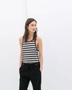 Image 1 of ORGANIC COTTON STRIPED TANK TOP from Zara