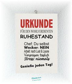 Bild Urkunde WOHLVERDIENTER RUHESTAND No2 Druck A4 von {P}owderArt! auf DaWanda.com