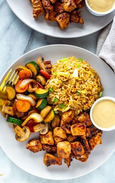 This Hibachi Chicken is just like the kind you get at Benihana - it's a delicious Japanese-inspired dish served with fried rice and sautéed vegetables. Sauteed Vegetables, Chicken And Vegetables, Hibachi Vegetables Recipe, Vegetable Crisps, Vegetable Recipes, Fried Rice With Chicken, Sautee Chicken, Sauteed Chicken Recipes, Recipes