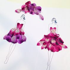 Beautiful dress made of Real Flower Petals by Grace Ciao Flower Petals, Flower Art, Flower Girls, Floral Fashion, Fashion Art, Poison Ivy Character, Grace Ciao, Fashion Illustration Dresses, Unique Drawings