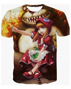 Red Riding Annie t shirt LOL League of Legends 3D t shirts short sleeve