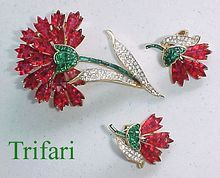 Fantastic TRIFARI Invisibly Set Faux Rubies & Emeralds Flower Pin & Earrings!