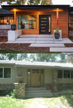 Denver home gets completely remodeled to create a stunning mid-century home for a family of seven Ranch Exterior, Exterior Remodel, Modern Exterior, Exterior Design, Modern Home Exteriors, Traditional Exterior, Traditional Bathroom, Exterior Colors, Exterior Paint
