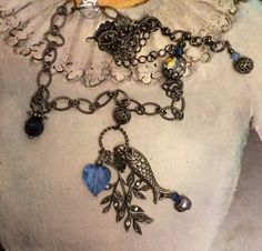 Chain Assemblage Necklace Dangling Sterling Fish by TobysArtwear