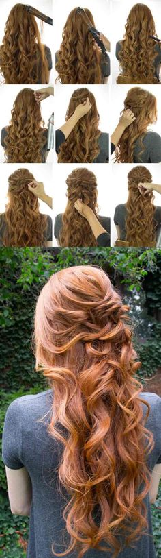 Half Up and Half Down Hairstyles for Prom - The Kardashian Kurls -Hairdos and Updo's for Short, Medium Length and Long hair - Great hair styles and Beauty for Prom Wedding Bride, Veils, Crown Braids, and Hair Accessories for Twists.