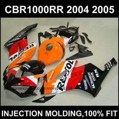 313.50$  Buy here - http://alimrz.worldwells.pw/go.php?t=32339419341 - Orange repsol fairing kit for HONDA  CBR 1000RR Injection mold fairings 2004 2005  cbr1000rr 04 05 ABS plastic bodyworks